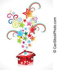scatola, astratto, magia, colorito