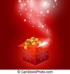 scatola, astratto, regalo, fondo, rosso