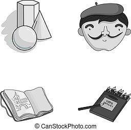 scatola, autoritratto, colorato, artista, vita, disegni, quaderno, pencils., geometrico, ancora
