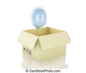 scatola, balloon., pensare, concept., fuori, 3d