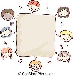 scatola, bambini, stickman, chiacchierata, illustrazione