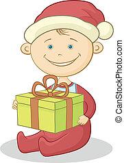 scatola, bambino, claus, santa, regalo