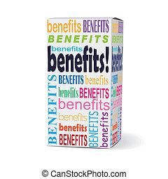 scatola, benefici, prodotto, parola