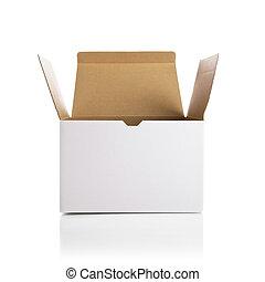 scatola, bianco, apertura
