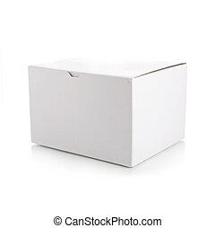 scatola, bianco, chiuso