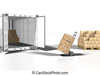 scatola, bianco, contenitore, spedizione marittima, ...