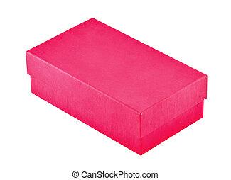scatola, bianco, isolato, rosso