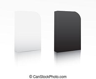 scatola, bianco, nero, software
