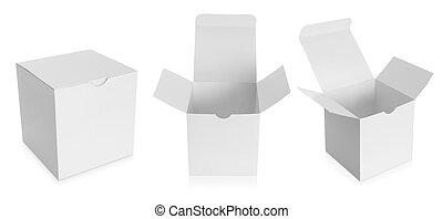 scatola, bianco, prodotti, pacchetto