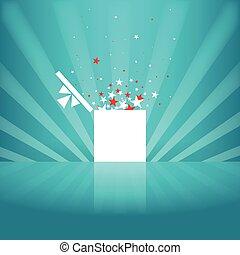scatola, bianco, stella, regalo