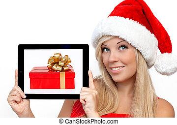 scatola, biondo, tavoletta, regalo, schermo, natale, anno, computer, cuscinetto, presa a terra, tocco, nuovo, ragazza, cappello, aggeggio, rosso
