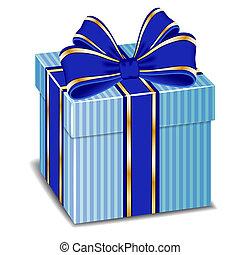 scatola, blu, arco regalo, vettore, seta