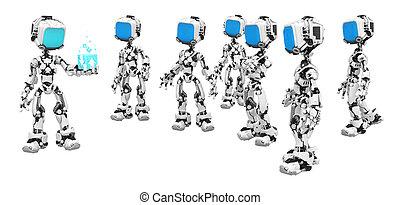 scatola blu, mostra, schermo, dati, robot