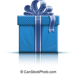 scatola blu, nastro, arco regalo