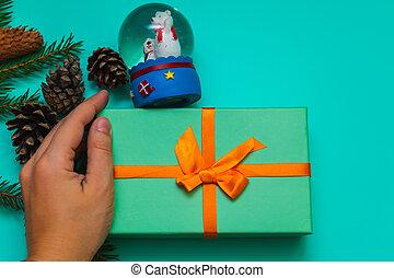 scatola blu, regalo, globo, neve, fondo