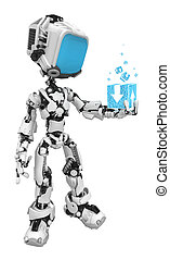scatola blu, schermo, dati, robot