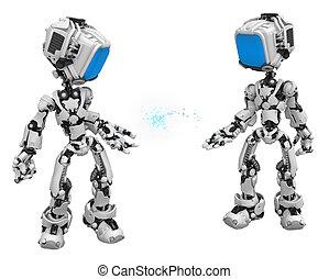 scatola blu, schermo, passare, dati, robot