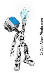 scatola blu, schermo, robot, presa, dati