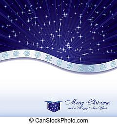 scatola blu, stelle, regalo, fiocchi neve, illustrazione, vettore, fondo, natale