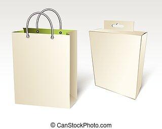scatola, borsa, shopping