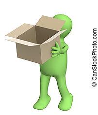 scatola, burattino, aperto, 3d