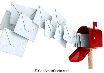 scatola, busta posta, 3d