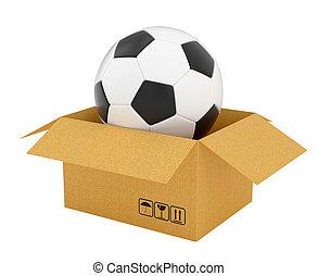 scatola, calcio, cartone, aperto, palla
