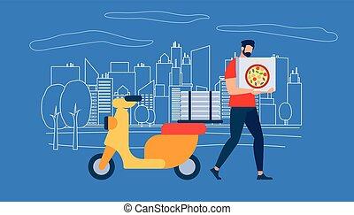 scatola, camicia, corriere, carattere, portare, uomo, rosso, pizza