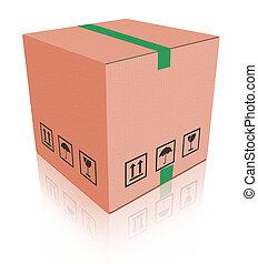 scatola, carboard, pacchetto