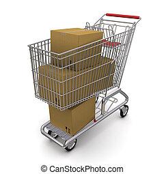 scatola, carrello, cartone, chiuso