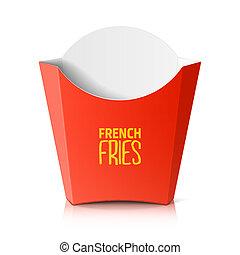scatola, carta, frigge, francese