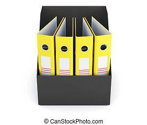 scatola, cartelle, fondo., isolato, interpretazione, bianco, 3d