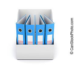 scatola, cartelle, rend, cima, isolato, fondo., bianco, vista., 3d