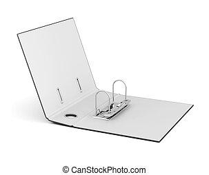 scatola, cartelle, render, immagine, isolato, fondo., bianco, vuoto, 3d