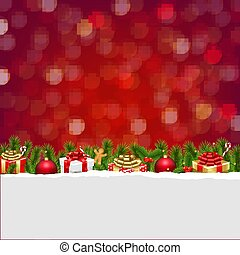 scatola, cartolina, bokeh, regalo natale