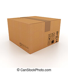 scatola, cartone, 3d