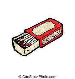 scatola, cartone animato, fiammifero