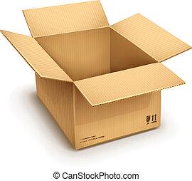 scatola, cartone, aperto