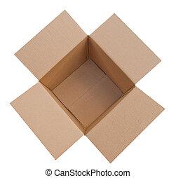 scatola, cartone, aperto, isolato
