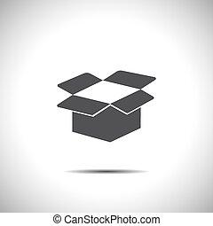 scatola, cartone, aperto, vettore, icona