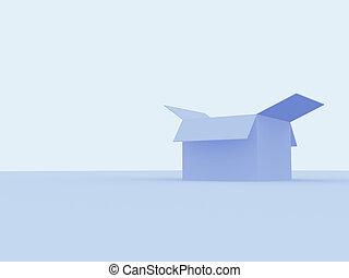 scatola, cartone, aperto, vuoto, 3d