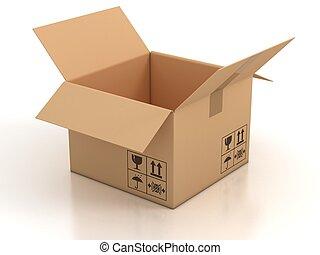 scatola, cartone, aperto, vuoto