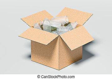 scatola, cartone, interpretazione, isolato, fondo., 3d, plastica, bianco, dentro