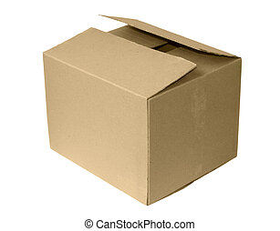 scatola, cartone, isolato