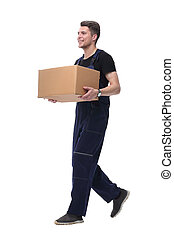 scatola, cartone, lavoratore, isolato, avanzando, bianco, forward., amichevole
