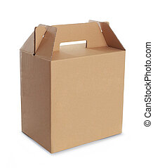 scatola, cartone, manico
