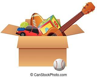 scatola cartone, pieno, di, giocattoli