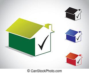 scatola, casa, casa, zecca, meglio, 3d