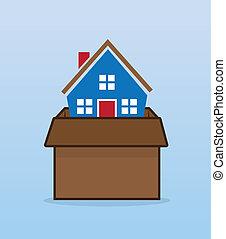 scatola, casa, spostamento