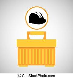 scatola, casco, attrezzo, portatile, icona